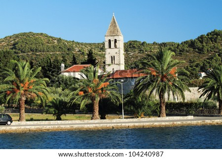 A monastery at the bay of Vis town at the Croatian island Vis in the Adriatic sea