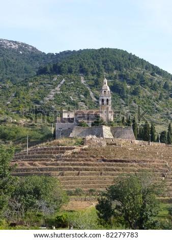 A monastery Komiza at the Croatian island Vis in the Adriatic sea in Croatia