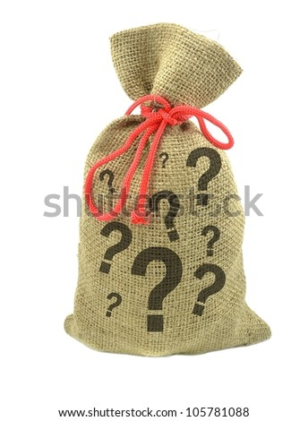 A money bag with question marks. Financial risks concept