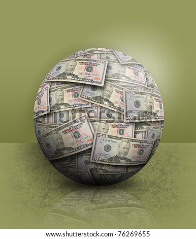 A money ball of fifty dollar bills are on a green background.