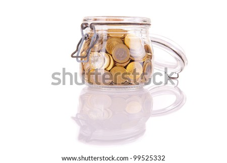 A Money jar full of savings