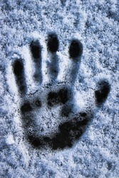 A monochromatic photo of a print of a left hand print in a thin snow.