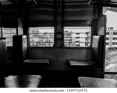 A Monochromatic picture of Indian train inside..