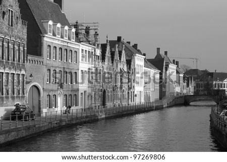 A monochrome canal scene in Bruges
