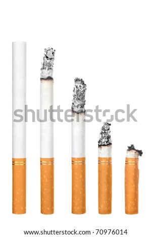 A montage of cigarettes during different stages of burn.  Each is isolated on white.