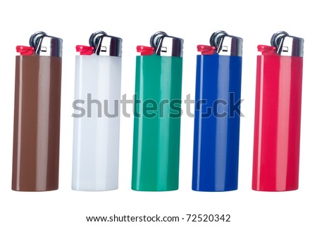 A montage of five new butane lighters each isolated against a white background.