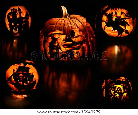 a montage of the different carved sides of a pumpkin on black background - a witch stirring her cauldron, evil castle, headless horseman, ghosts, and a pirate ship