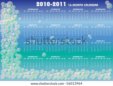 A 2010-2011 16-month calendar on blue background with bubbles, Sunday start. Raster illustration.