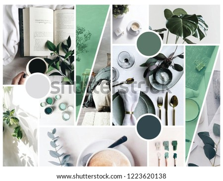 Photo of  A mood board express the feeling of cozy, comfy, and green. I design it for those who love green and cozy, wish to design their home in the similar way.