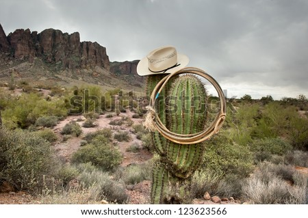 A moody image of a lasso and cowboy hat hanging on saguaro cactus in the Superstition Mountains in Arizona. - stock photo