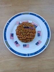 A mooncake decorated with flag of Malaysia #Independenceday #Merdeka