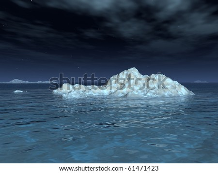 A moonlit iceberg drifts in a calm sea, underneath a starry sky and wispy clouds.