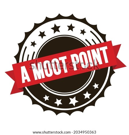 A MOOT POINT text on red brown ribbon badge stamp. Foto stock ©
