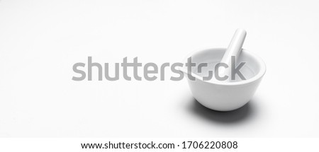 A mortar grinder drugs isolated on white background.  For copy space. Foto stock ©