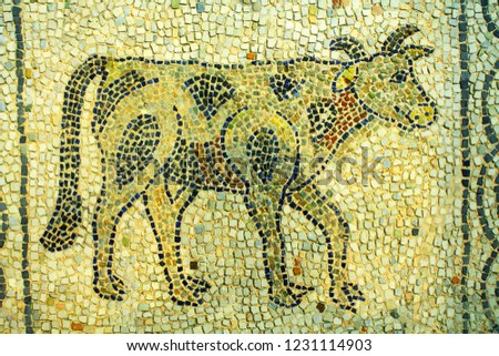 A mosaic of a cow. The mosaic is one of the old Byzantine mosaics in Ravenna, Italy. These were done around 5th-6th century AD. #1231114903