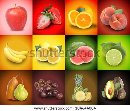 A mosaic variety of colorful fruit squares. There are strawberries, bananas, grapes, peaches, watermelon and more. Use it for an ingredient food concept or background decoration.