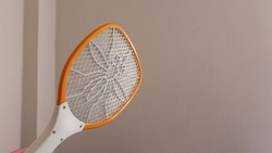 A mosquito swatter in the hand Going to hit mosquitoes by the wall
