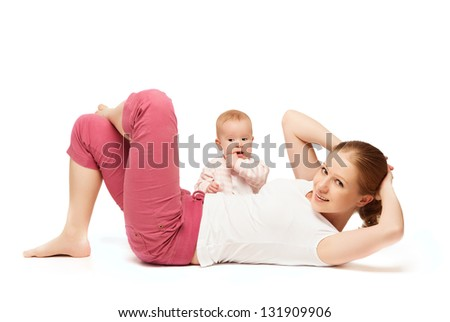A mother and baby gymnastics, yoga exercises