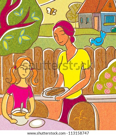 A mother and daughter having food on their outdoor patio