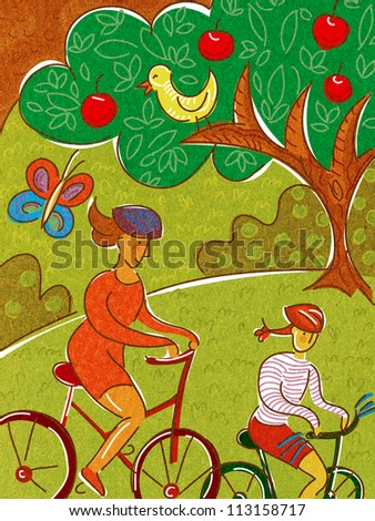A mother and daughter riding bikes in the park