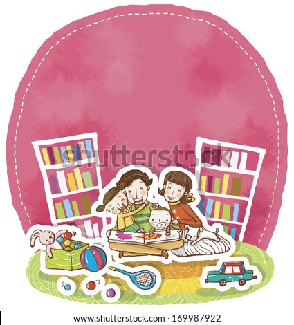 A mother and three children gather around a book in a play room.