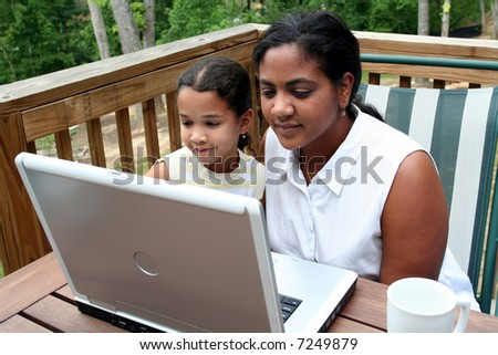 A mother with her children use the computer
