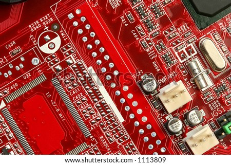A motherboard close up showing some circuits