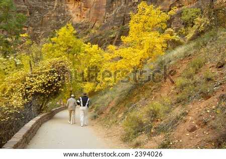 A motion-blurred elderly couple is strolling on the path to Temple of Sinawava in Zion NP.