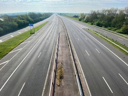A motorway in the UK is deserted during the coroanvirus outbreak