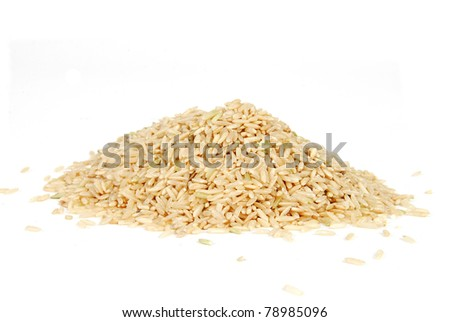 A mound of long grain rice on white
