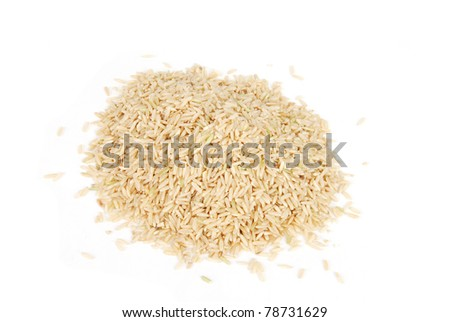 A mound of whole grain brown rice on a white background