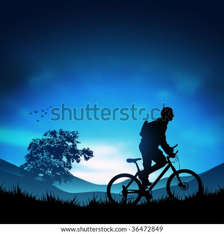 A mountain biker heading for the hills. Vector illustration. - stock photo