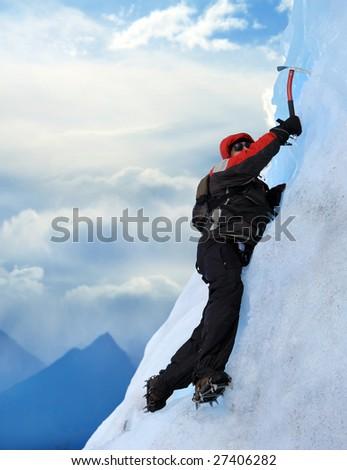 A Mountain climber at Perito Moreno Glacier, Patagonia, Argentina