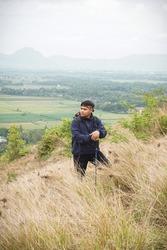 A mountain climber who is climbing