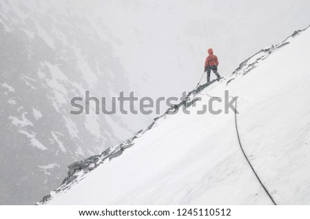 A Mountain climber with rope on the slope. Ascent on Metallurg Peak. Altai Republic, Russia #1245110512