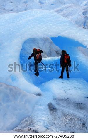 A Mountain climbers at Perito Moreno Glacier, Patagonia, Argentina