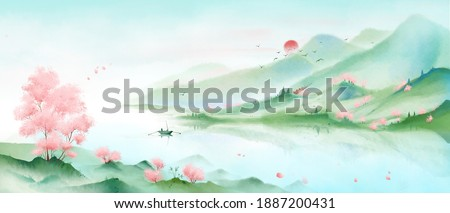 A mountain full of pink peach blossoms.Oriental ink painting,Blue Mountain ink illustration,Ink and wash landscape painting.