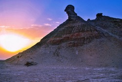 A mountain in the desert of Tunisia in the shape of a camel's head.
