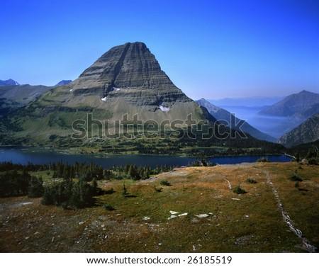 A Mountain Lake Amid The Alpine Peaks, Glacier National Park, Montana