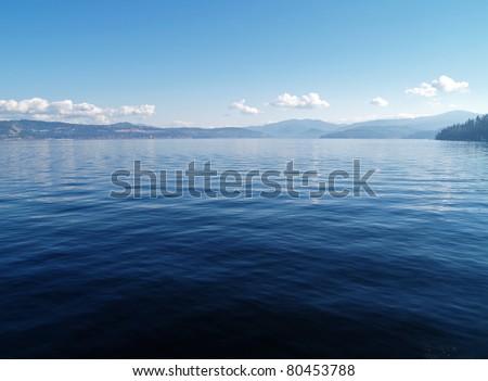A Mountain Lake Under a Deep Blue Sky Coeur d'Alene Idaho USA
