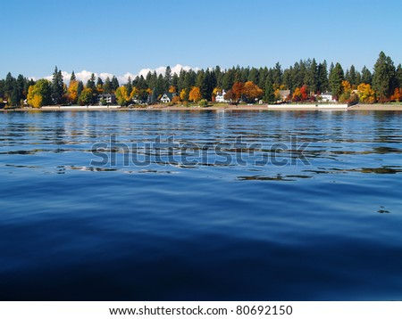 A Mountain Lake Under a Deep Blue Sky Coeur d'Alene Idaho USA