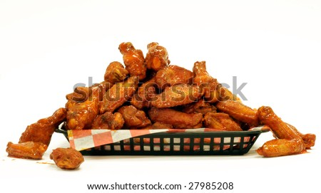 A mountain of Chicken Wings on a tray.