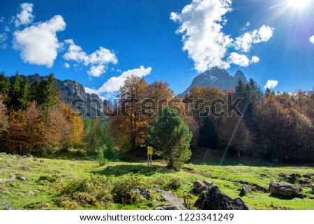 a mountain of Pic Du Midi Ossau  in autumn, France, Pyrenees