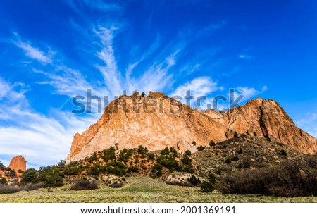 A mountain on a blue sky background. Mountain rock view. Mountain landscape