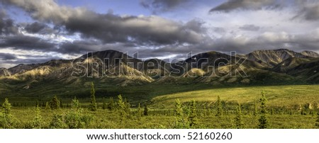 A mountain panorama with dramatic clouds and a lush boreal tundra in the foreground, Denali National Park, Alaska.