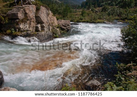 A mountain stream flows with its impetuous waters between the rocks #1187786425