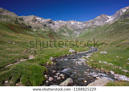A mountain stream flows with its impetuous waters between the rocks #1188825229
