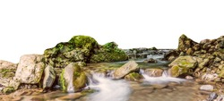A mountain stream isolated on white background