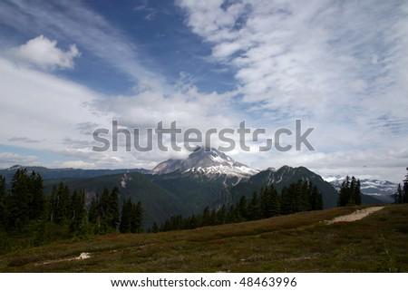 A mountain view from Elfan lake trail in BC, Canada.