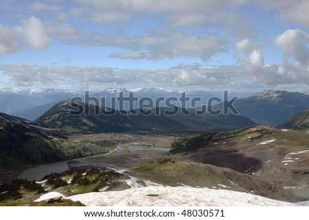 A mountain view from panorama ridge in Garibaldi Province Park, BC, Canada.
